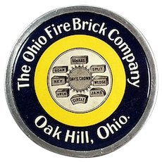 Vintage Celluloid Advertising Paperweight for the Ohio Fire Brick Company