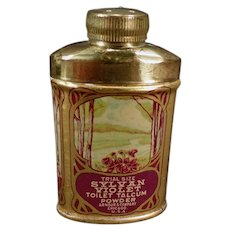 Vintage Sample Talc Tin - Sylvan Violet Toilet Talcum Trial Size Tin