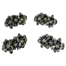 Four Vintage Floral and Rhinestone Pronged Button Fashion Adornments - Sivlertone