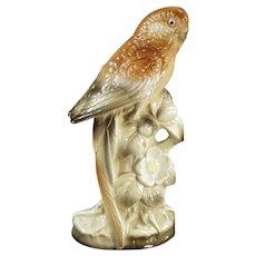 Vintage Ceramic Parakeet - Bird in Brown Tones Made in Japan