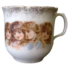 Vintage Porcelain Cup with Four Adorable Victorian Children