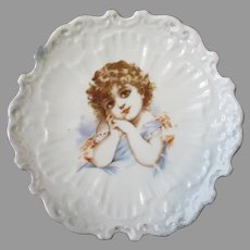 Vintage Porcelain Plate with an Adorable Victorian Girl