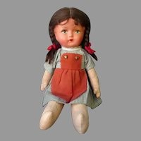 Vintage Celluloid & Cloth Doll - Pinafore and Pigtails - Original Clothes