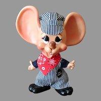 """Vintage Mouse Bank - Ernie Engineer Doll – 10 ½"""" - Original including Hat"""