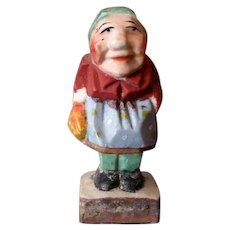 Vintage Occupied Japan Miniature Figure – Old Woman in Wood Carving Style