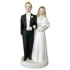 Vintage Porcelain Bride & Groom Wedding Cake Topper – Large Size