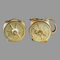 Vintage Frankoma Pottery Wagon Wheel Cream & Sugar Set - Ada Clay Desert Gold