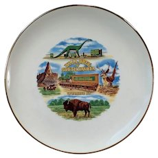 Vintage Wall Drug of South Dakota Souvenir Plate with Dinosaur & Flying Jackalope