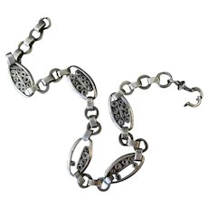 Vintage Pocket Watch Chain – Unusual Decorative Links, Silver – Multiple Hallmarks