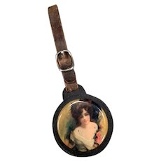 Vintage Celluloid Watch Fob Mirror with Pretty Woman & Leather Strap