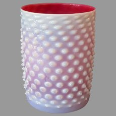 Vintage Opalescent Pink Hobnail Art Glass – Cylindrical Light Shade for Gas Fixture