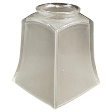 Vintage Glass Light Fixture Replacement Shade - Single Frosted Shade with Craftsman Period Style