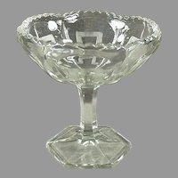 Vintage Pressed Glass Pedestal Compote Candy Dish with Greek Key Design