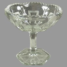Vintage Pressed Glass Pedestal Compote Candy Dish with Greek Key Design
