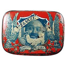 Vintage Reichard & Scheuber Yankee Razor Tin - Antique Safety Razor Tin, Nice Graphics