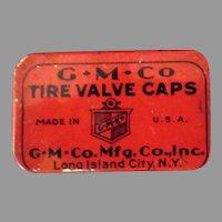 Vintage G.M.Co Tire Valve Caps Automotive Tin with Three Caps
