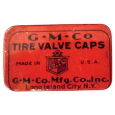Vintage G.M.Co Tire Valve Caps Automotive Tin with Three Caps