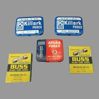 Assortment of Vintage Fuse Tins – Killark, Atlas & Buss, Some with Product
