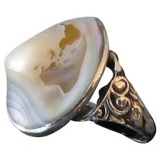 Vintage Abalone and Sterling Silver Ring