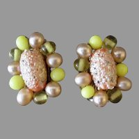 Vintage Pink & Yellow Bead Clip-On Costume Earrings, Japan – 1950's - 1960's