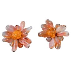 Vintage Costume Jewelry Clip-On Earrings - Milky Opalescent Orange - W Germany