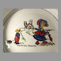 Vintage Mother Goose Nursery Rhyme Baby's Feeding Dish Plate - Wellsville Ohio