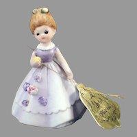 Vintage Josef Original Wedding Belle Bisque Bell Dressed in Lavender