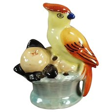 Vintage Flower Frog - Small Lusterware Bird with Fruit - Little Size