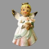 Vintage Porcelain Birthday Angel Figurine for the Month of April - Birthday Girl