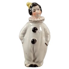 Vintage Miniature Perfume Bottle - Pierrot in Black and White Clown Costume