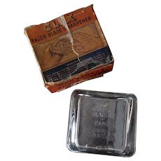 Vintage Glass Clix Safety Razor Blade Sharpener with Original Box