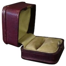 Vintage Ring Box – Masculine, Maroon Leatherette Paper Covered Jewelry Box