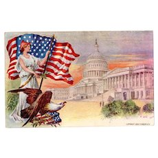 Vintage Patriotic Postcard - Lady Liberty, American Flag and More