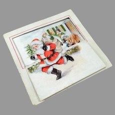 Vintage Christmas Card with Graphics of Santa and Children Having Fun in the Snow