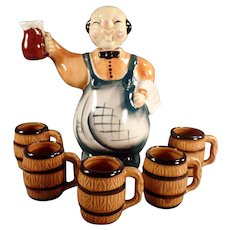 Vintage Liquor Decanter Set - Jolly Bartender with Five Matching Mugs