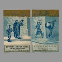 Two Vintage Trade Cards - Button's Raven Gloss with Mischievous Boys in Blue