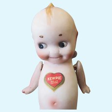 Vintage Nippon Bisque Kewpie Doll with Original Heart & Rose O'Neill Labels