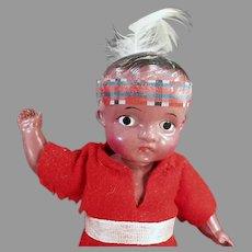 """Vintage Celluloid Boy Indian Brave 7"""" Doll - Original Red Felt Costume"""