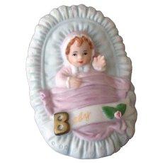 Vintage Enesco Porcelain Bisque Baby in a Basket 1987 – Great Baby Shower Keepsake
