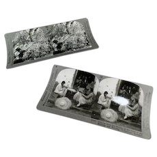 Two Vintage Stereoscopic Stereo View Cards - Panama Hats and Coffee Picking Scenes