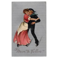 Vintage More to Follow Postcard with Eager Sailor & Gibson Like Girl