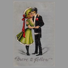 Vintage More to Follow Postcard with Buxom Young Lady & Suave Gentleman