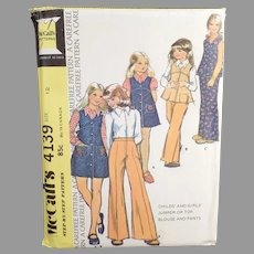 Vintage #4139 Child's McCall's Carefree Pattern - 1974 Children's Fashions - Size 12