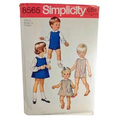 Vintage #8565 Child's 1969 Simplicity Toddler Pattern - Suit, Dress or Jumper & Blouses