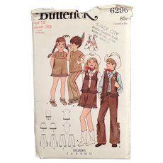 Vintage #6296 Child's Butterick Pattern - Cowboys & Indians Children's Costumes