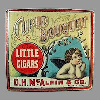 Vintage Tobacco Tin - Cupid Bouquet Little Cigars with Cherub Graphics