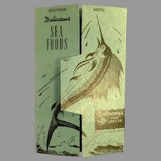 Vintage ca 1950's Anthony's Fish Grotto Restaurant Souvenir Menu Postcard Mailer
