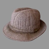 Gentlemen's Vintage London Fog Tweed Fedora Hat - 1960's