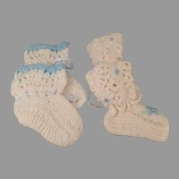 Two Pair of Vintage Handmade Baby Booties - Old Infant Shoes