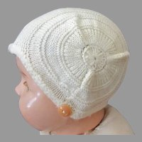 Vintage Cream Colored Knit Baby Bonnet with Chin Strap